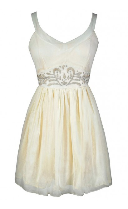 Cream A-Line Dress, Beige A-Line Dress, Ivory A-Line Dress, Ivory Rehearsal Dinner Dress, Ivory Bridal Shower Dress, Ivory Embroidered Dress