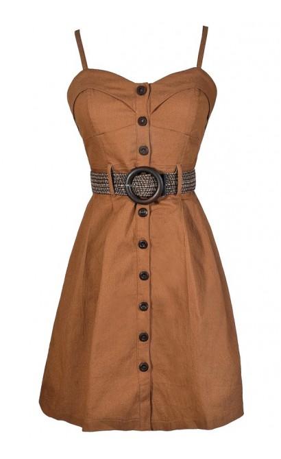 Safari Dress, Safari Style Dress, Belted Button Down Dress, Camel Belted Dress, Camel A-Line Dress, Brown Belted Dress, Taupe Belted Dress