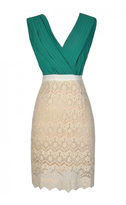 Green and Beige Dress, Cute Lace Dress, Lace Pencil Dress, Green and Beige Lace Dress, Green and Lace Pencil Dress, Lace and Chiffon Pencil Dress,