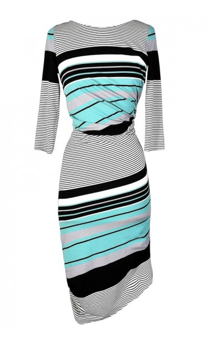 Cute Stripe Dress, Mint Stripe Dress, Aqua Stripe Dress, Teal Stripe Dress, Stripe Bodycon Dress, Fitted Stripe Dress, Stripe Midi Dress