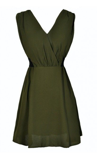 Green and Black Dress, Army Green Dress, Military Style Dress, Olive Green Dress, Green Party Dress, Green and Black Dress, Green A-Line Dress