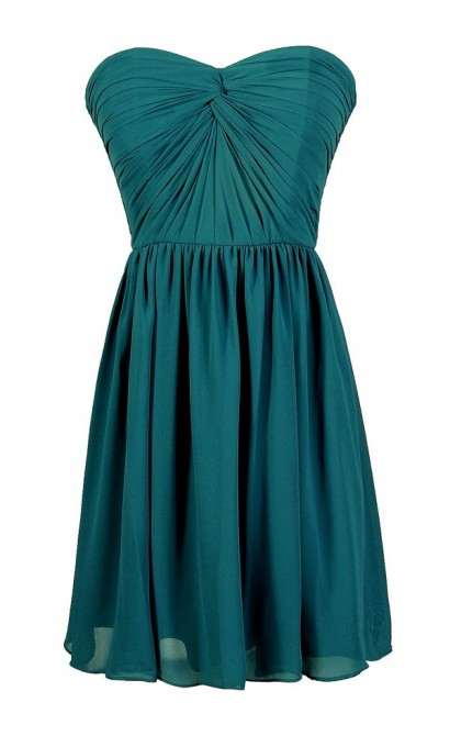 Teal Green Dress, Jade Green Dress, Teal Bridesmaid Dress, Teal Party Dress, Teal Strapless Dress, Teal Chiffon Dress, Teal Cocktail Dress, Teal A-Line Dress, Cute Teal Dress