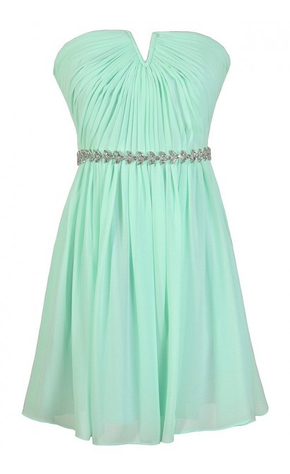 Mint Bridesmaid Dress, Cute Mint Dress, Mint Chiffon Dress, Mint Prom Dress, Mint Party Dress, Mint Rhinestone Dress, Mint Embellished Dress