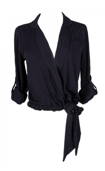 Cute Navy Top, Navy Work Top, Navy Tie Side Top, Cute Navy Blouse, Navy Business Top