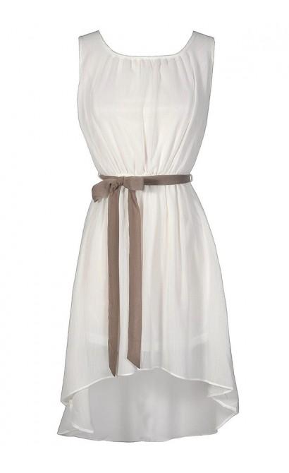 Cute White Dress, White High Low Dress, White Cocktail Dress, White Party Dress, White Summer Dress, White Rehearsal Dinner Dress, White and Beige Dress