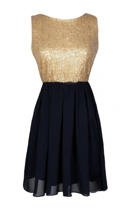 Navy and Gold Dress, Navy and Gold Sequin Dress, Navy and Gold Party Dress, Navy and Gold A-Line Dress, Navy and Gold Cocktail Dress, Navy and Gold Homecoming Dress