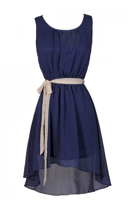 Cute Blue Dress, Blue Party Dress, Blue High Low Dress, Blue and White Dress, Blue Cocktail Dress