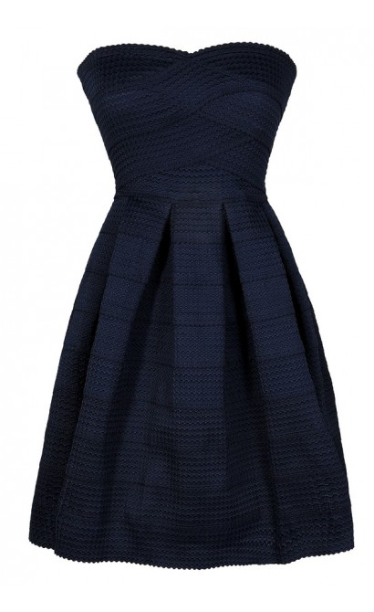 Navy Party Dress, Cute Navy Dress, Navy A-Line Dress, Navy Strapless Dress, Navy Cocktail Dress