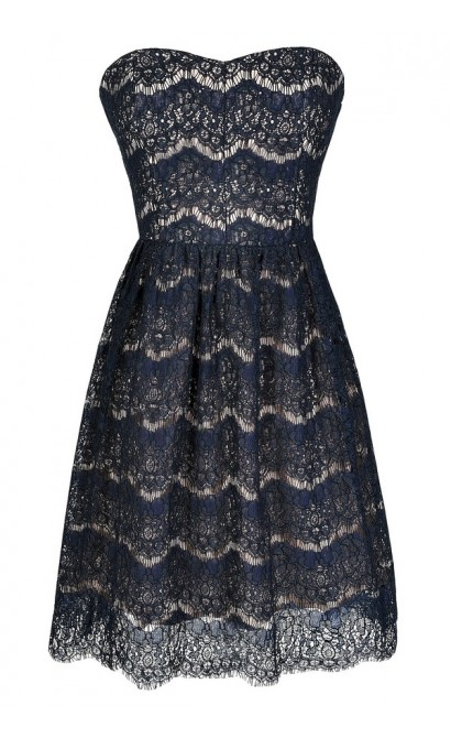 Navy Lace Dress, Cute Lace Dress, Navy Lace Strapless Dress, Navy Lace A-Line Dress, Navy Lace Party Dress, Navy Lace Bridesmaid Dress, Navy Bridesmaid Dress