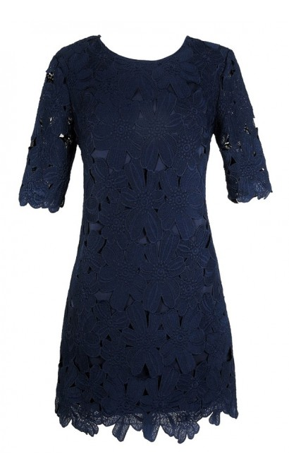 Navy Lace Dress, Cute Lace Dress, Cute Navy Dress, Navy Floral Lace Sheath Dress, Navy Lace Sheath Dress, Navy Crochet Lace Dress