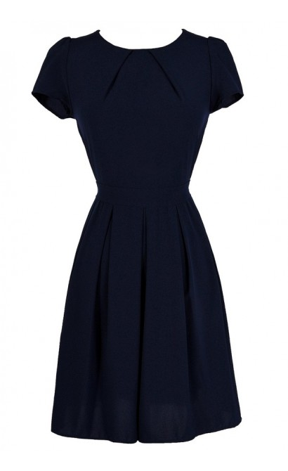 Navy A-Line Dress, Cute Navy Dress, Navy Tie Back Dress, Navy Party Dress, Navy Sundress