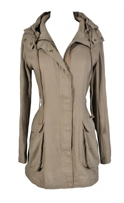 Beige Anorak Jacket, Cute Beige Jacket, Beige Hiking Jacket, Cute Taupe Jacket, Taupe Anorak