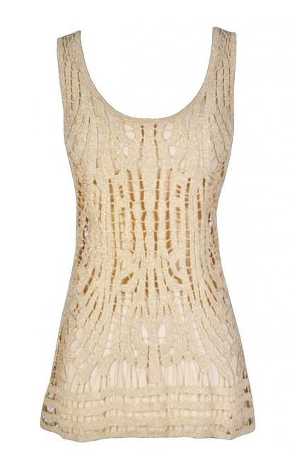 Gold Metallic Crochet Top, Gold Crochet Top, Gold Crochet Open Knit Top, Gold Metallic Crochet Tank Top