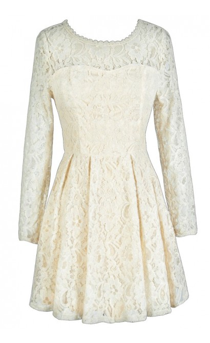 Cream Lace Dress, Ivory Lace Dress, Longsleeve Lace Dress, Lace A-Line Dress, Ivory Lace A-Line Dress, Cream Lace A-Line Dress, Beige Lace Dress, Ivory Lace Rehearsal Dinner Dress, Beige Lace Rehearsal Dinner Dress, Cream Lace Rehearsal Dinner Dress, Ivor