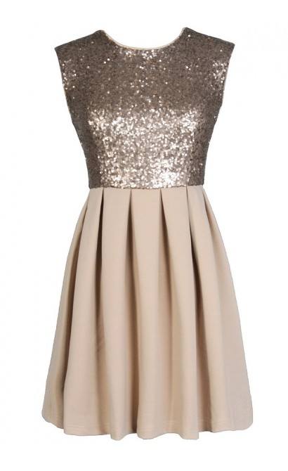 Beige Sequin Dress, Gold Sequin Party Dress, Beige Sequin Cocktail Dress, Cute New Years Dress, Cute Holiday Dress, Beige and Gold Sequin Dress, Gold Sequin A-Line Dress, Beige Sequin A-Line Dress, Beige Sequin Cocktail Dress