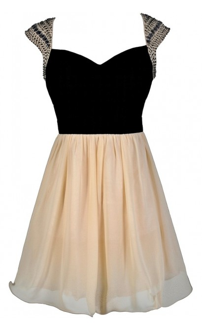 Black and Beige Beaded Shoulder Homecoming Party Dress