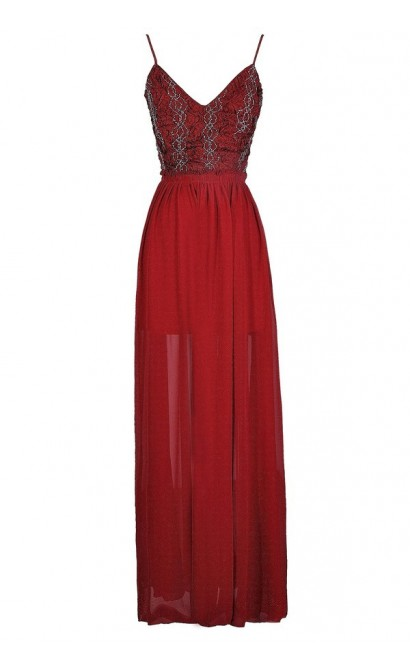 Red Maxi Dress, Burgundy Maxi Dress, Red Prom Dress, Burgundy Prom Dress, Red Open Back Maxi Dress, Burgundy Open Back Maxi Dress, Cute Holiday Dress, Cute Christmas Dress, Cute Prom Dress, Red Beaded Formal Dress, Burgundy Beaded Formal Dress