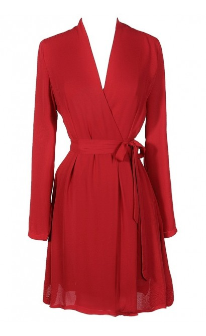 cute red dress red wrap dress red longsleeve wrap dress cute holiday dress - Red Dress For Christmas Party