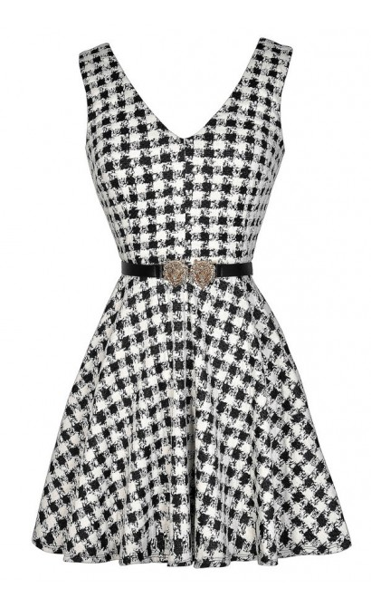 Black and Ivory Dress, Cute Black and Ivory Dress, Black and Ivory Belted Dress, Black and White Pattern Dress, Black and White Printed Dress, Black and White A-Line Dress, Black and White Party Dress, Black and White A-Line Dress