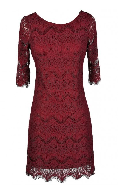 Cute Lace Dress, Cute Red Dress, Red Lace Dress, Burgundy Lace Dress, Cute Holiday Dress, Cute Christmas Dress, Cute Christmas Party Dress, Cute Fall Dress, Maroon Lace Dress, Burgundy Lace Party Dress, Burgundy Lace Cocktail Dress