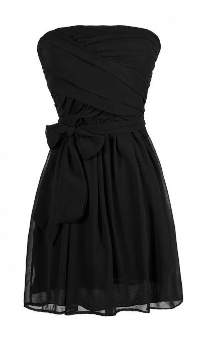 Cute Black Dress, Little Black Dress, Black Strapless Dress, Black Strapless Chiffon Dress, Black Strapless Cocktail Dress, Black Strapless Party Dress, Black Strapless A-Line Dress