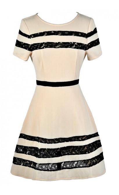 Cute Black and Beige Dress, Black and Beige Lace Dress, Black and Beige A-Line Dress, Black and Beige Party Dress, Cute Black and Beige Dress