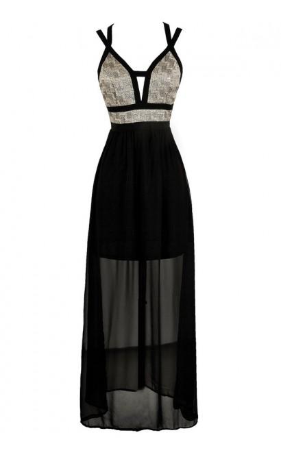Black and Gold Maxi Dress, Cute Maxi Dress, Black and Gold Formal Dress, Black and Gold Prom Dress, Black and Gold Floor Length Dress, Cute Black and Gold Dress