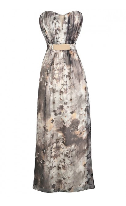 Grey Floral Print Maxi Dress, Strapless Floral Print Maxi Dress, Little Mistress Floral Maxi Dress, Little Mistress Grey Floral Print Maxi Dress
