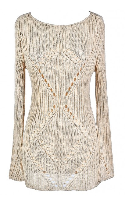 Cute Beige Sweater, Beige Open Knit Sweater, Beige Longer Length Sweater