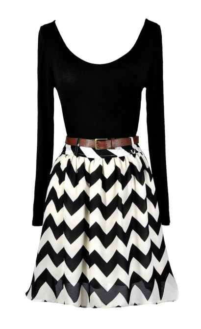 Black and Ivory Chevron Dress, Cute Chevron Dress, Cute Longsleeve Dress, Black and Ivory Chevron A-Line Dress, Black and Ivory Belted Chevron Dress