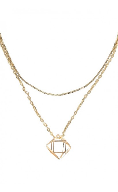 Cute Gold Necklace, Double Chain Necklace, Gold Charm Pendant, Gold Cage Necklace, Gold Cage Pendant, Cute Gold Jewelry