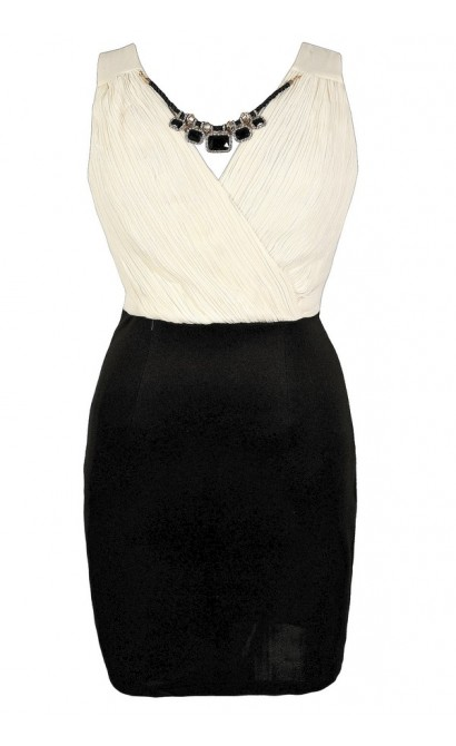 Cute Plus Size Dress, Black and Ivory Plus Size Party Dress, Black and Ivory Plus Size Pencil Dress, Black and Ivory Plus Size Cocktail Dress