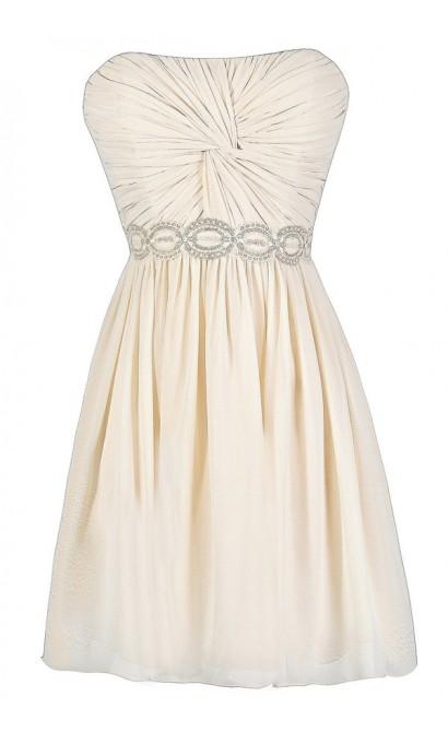Cute Beige Dress, Cute Cream Dress, Beige Strapless Dress, Twisted Chiffon Dress, Beige Lace and Chiffon Dress, Cute Rehearsal Dinner Dress, Cute Bridal Shower Dress, Beige Chiffon Party Dress