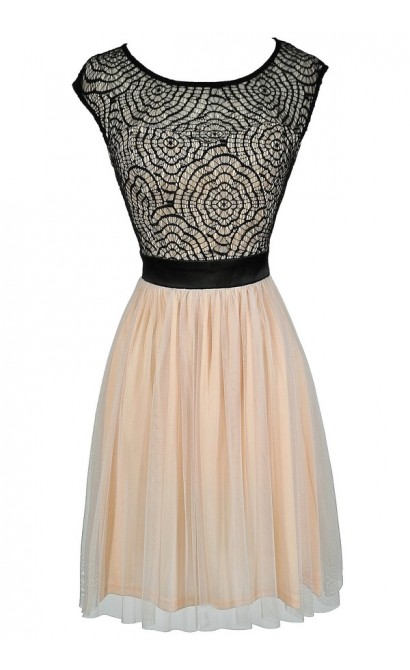 Black and Beige Lace Dress, Black and Beige Tulle and Lace Dress, Black and Beige A-Line Dress, Black and Beige Party Dress