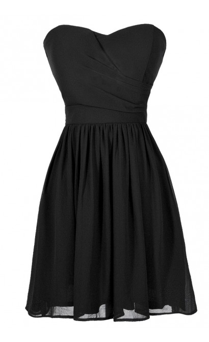 Cute Black Dress, Little Black Dress, Black Strapless Dress, Black Party Dress, Black Cocktail Dress, Black A-Line Dress