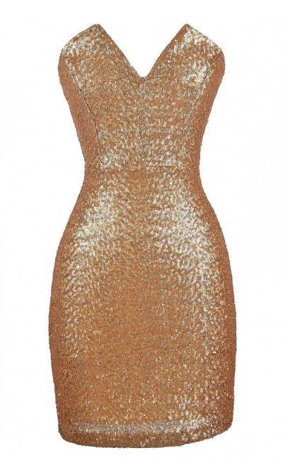 All Aglow Gold Sequin V Dip Dress