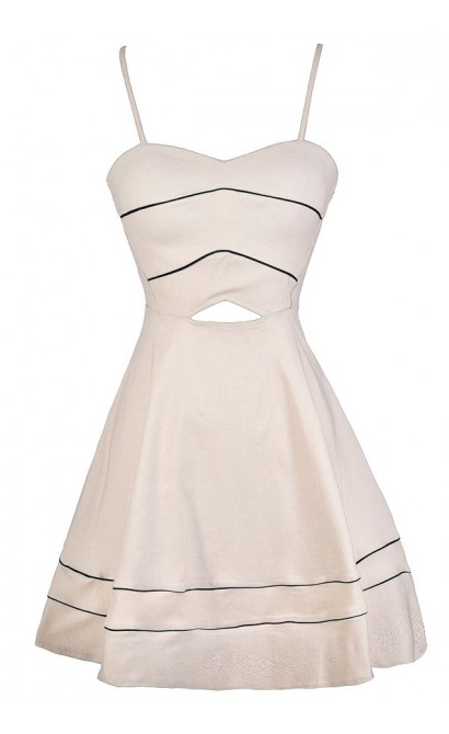 Beige A-Line Dress, Beige Party Dress, Beige Cutout Dress, Cute Beige and Black Dress