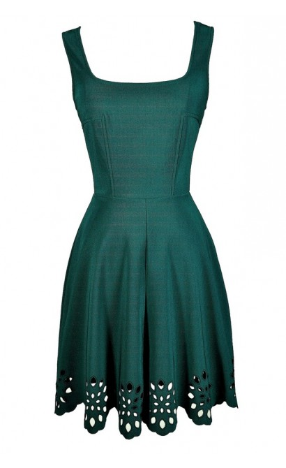 Hunter Green A-Line Dress, Hunter Green Party Dress, Cute Green Dress, Green Lasercut Dress, Green Eyelet Dress, Green Summer Dress, Dark Green A-Line Dress, Dark Green Party Dress