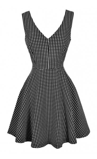 Black and White Polka Dot Dress, Black and Ivory Polka Dot Dress, Cute Polka Dot Dress, Retro Polka Dot Dress, Polka Dot A-Line Dress, Polka Dot Fit and Flare Dress, 1960s Polka Dot Dress, 1950s Polka Dot Dress, Cute Polka Dot Dress