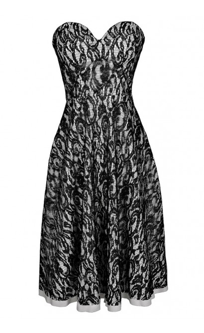 Black Lace A-Line Midi Dress, Strapless Black and White Lace Dress, Strapless Black and Ivory Lace Dress, Black and White A-Line Midi Dress, Black Lace A-Line Midi Dress, Strapless Black Lace A-Line Dress
