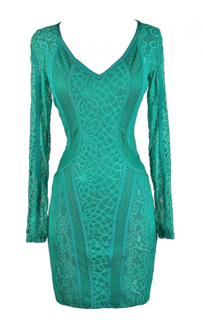 Mixed Lace Bodycon Dress, Teal Lace Bodycon Dress, Jade Lace Bodycon Dress, Aqua Lace Bodycon Dress, Longsleeve Lace Bodycon Dress, Lace Bodycon Dress, Green Bodycon Dress, Green Lace Bodycon Dress