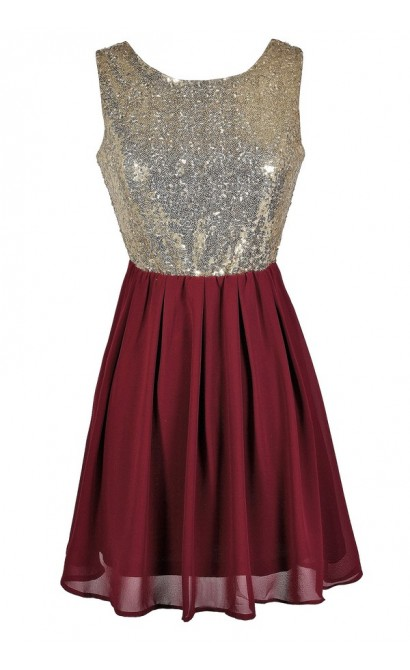 370261020ed1 Burgundy and Gold Sequin Dress, Burgundy Party Dress, Burgundy Cocktail  Dress, Cute Holiday