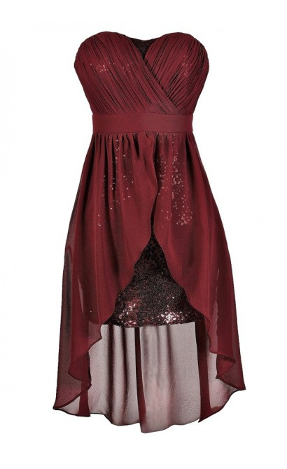 Cute Burgundy Dress, Burgundy Party Dress, Burgundy Cocktail Dress, Burgundy Sequin Dress, Burgundy High Low Dress