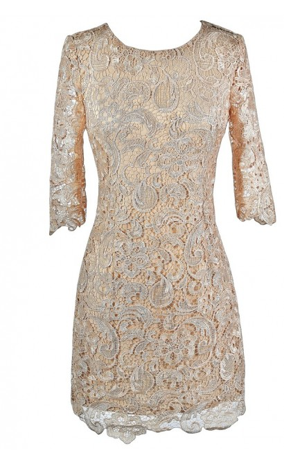 Beige Lace Dress, Beige Lace Cocktail Dress, Beige Lace Party Dress, Beige Lace Three Quarter Sleeve Dress