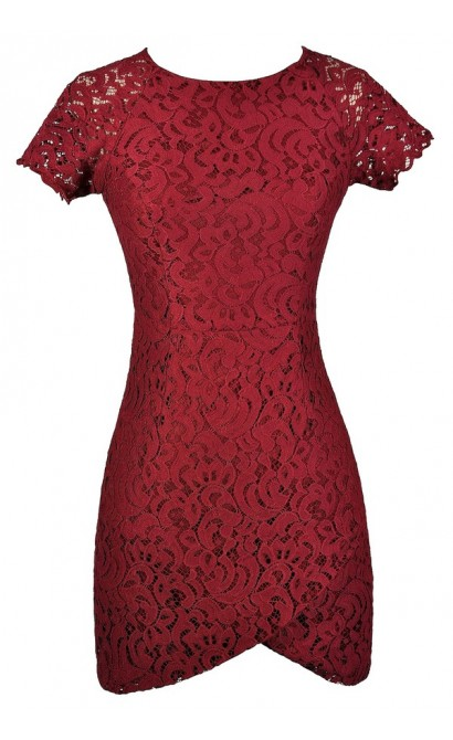 Burgundy Lace Dress, Burgundy Lace Pencil Dress, Cute Burgundy Dress, Burgundy Capsleeve Lace Dress, Red Lace Dress, Red Lace Pencil Dress, Red Capsleeve Lace Dress