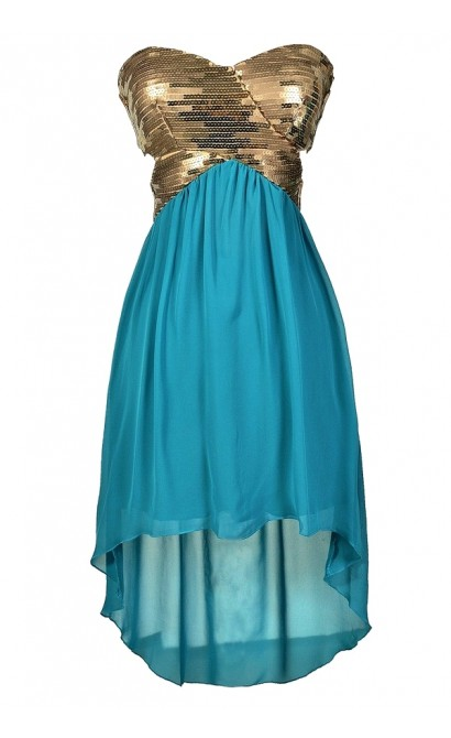 Teal and Gold Dress, Teal and Gold Cocktail Dress, Teal and Gold Prom Dress, Teal and Gold High Low Dress, Green and Gold Dress, Green and Gold Party Dress, Cute Mermaid Dress