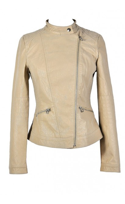 Beige Leatherette Jacket, Beige Faux Leather Jacket, Cute Beige Jacket, Beige Crossover Jacket