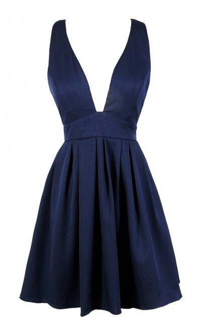 Cute Navy Dress, Navy Party Dress, Navy Cocktail Dress, Navy Plunging Neckline Dress