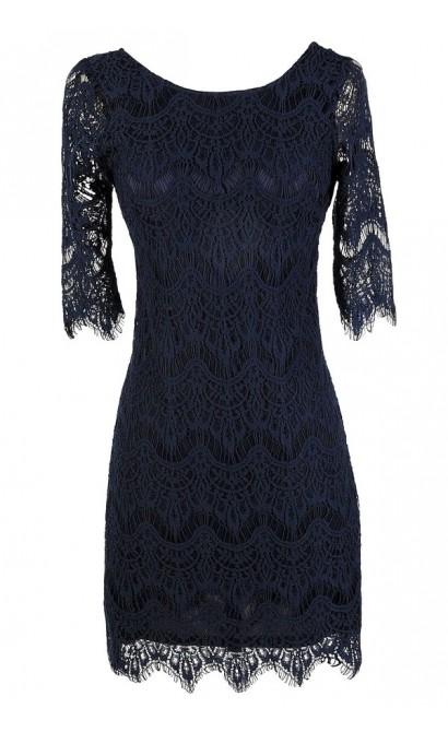 Cute Navy Dress, Navy Lace Dress, Navy Lace Sheath Dress, Navy Lace Party Dress