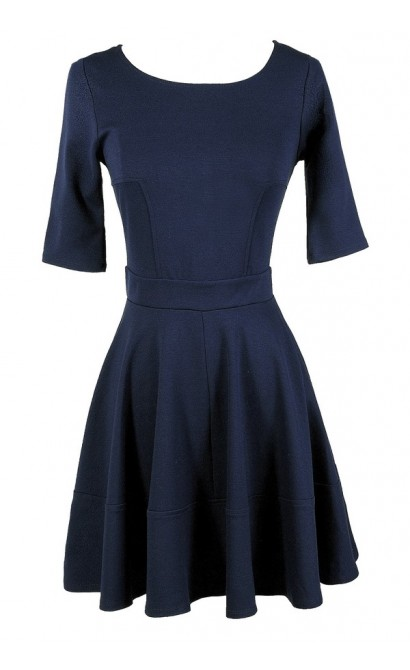 Cute Navy Dress, Navy A-Line Dress, Navy Party Dress, Navy Cocktail Dress, Navy Three Quarter Sleeve A-Line Dress, Blue Party Dress, Blue A-Line Dress